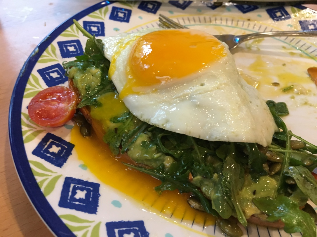 2018-5-29 Sweet Potato Avocado Toasts with Egg and Arugula